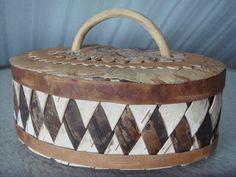 Vintage Swedish Handmade Birch Bark Box / Rustic Style Home decor / Cottage Decor / Storage