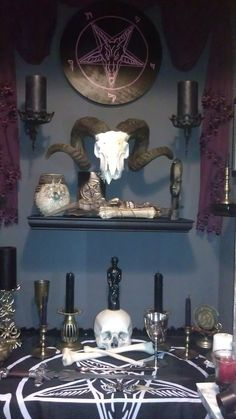 Spruce up your alcove with a Satanic Altar. For the Satanic Home Wiccan, Magick, Witchcraft, Rose Croix, Satanic Rituals, Satanic Art, Arte Obscura, Goth Home, Gesture Drawing