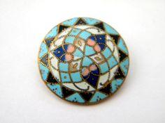 Antique enamel metal button brass victorian steel star cloisonne champleve