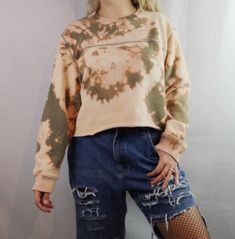 Custom Bleached Cropped Pullover Sweatshirt. Distressed. Edgy. Grunge. Grungy 90s style. 1990s inspired. Streetwear. 2017 trend. Street style. Festival fashion. Urban fashion. DIY distressed tee. Tyedye. Hipster fashion outfit. Shop on depop bannedtees instagram bannedtees