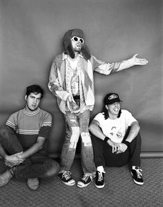 Kurt Cobain, Dave Grohl and Krist Novoselic on a photo shoot for photographer Jesse Frohman.