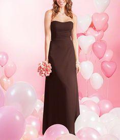 DescriptionAlfred Angelo Style 7386LFulllength bridesmaid dressStrapless, dipped necklineNatural waist with cross over bodiceChiffon