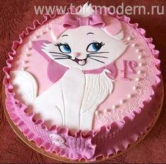 Marie the cat from the Aristocats Cake Baby Cakes, Girl Cakes, Pretty Cakes, Cute Cakes, Yummy Cakes, Fondant Cakes, Cupcake Cakes, Kitten Cake, Animal Cakes