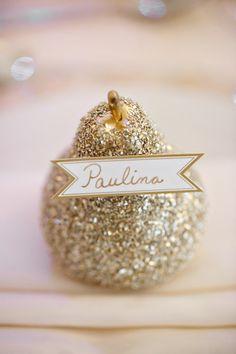 Glitter pear escort card