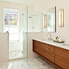 marble hex floor tile + modern wood vanity