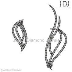 Sterling Silver Pave Diamond Earcuff Earring
