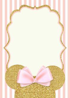Romina 1st Birthday Invitation Template, Minnie Mouse Birthday Invitations, Minnie Mouse First Birthday, Minnie Mouse Pink, Mickey Birthday, Mickey Minnie Mouse, Mini Mouse Baby Shower, Pink And Gold Invitations, Invitation Background