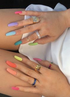 52 Newest Acrylic Nail Designs Ideas To Try This Year Style Style Christmas 2017 Nails - Winter Nail Art DesignsChristmas nail art, Christmas nail. Stiletto nails with blue and pink Aycrlic Nails, Matte Nails, Hair And Nails, Fall Nails, Matte Pink, Cute Acrylic Nails, Glitter Nail Art, Acrylic Nails For Summer, Painted Acrylic Nails