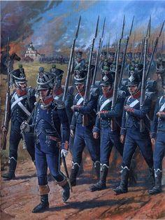 Infantería ligera francesa formando para marchar  Más en www.elgrancapitan.org/foro