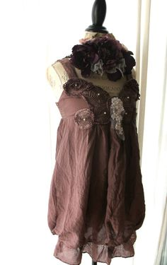 Country boho chic tunic Shabby brown funky by TrueRebelClothing, $64.00