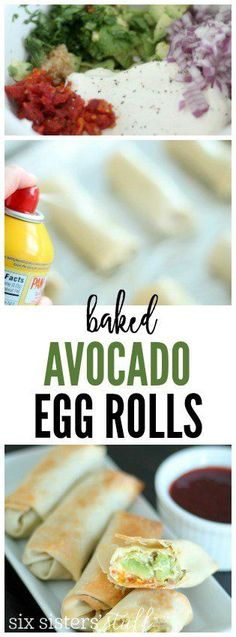 Baked Avocado Egg Rolls from SixSistersStuff.com | Packed with flavor and are so easy to make, these will quickly become a family favorite recipe!