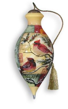 "$48.00-$55.00 Ne' Qwa Cardinal Christmas Ornament  Ne'Qwa Art(TM) is the largest producer of the centuries-old tradition of painting on the inside of glass. From outlining to shading to color application, all work is painstakingly done in freehand. Known in the Mandarin language as ""Ne'Qwa,"" the artistic tradition of reverse painting on the inside of glass flourished during the 17th century, whe ..."