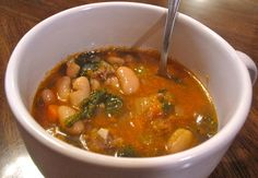 White bean, kale and italian sausage soup... Made this tonight and it was very good. I used deer hot italian sausage
