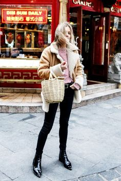 Camel shearling biker, red stripe t-shirt, black skinny jeans & ankle boots | @styleminimalism