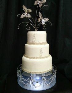 Crystal wedding Cake Stand drape swag design with Light 20 Wedding Cake Stands, Wedding Cakes, Chandelier Cake Stand, Fruit Displays, Crystal Wedding, Party Cakes, Crafts To Make, Wedding Colors, Cake Decorating