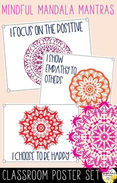 These classroom posters are a great way to encourage students to use positive affirmations when feeling frustrated or upset. Surround students with mindfulness mantra posters in your classroom or in your school counseling office. School Counseling Office, Elementary School Counselor, Elementary Schools, Classroom Posters, Classroom Themes, Classroom Organization, Mindfulness For Kids, Bullying Prevention, Social Emotional Learning