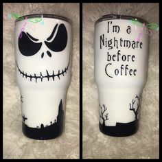 I'm a nightmare before Coffee. Diy Tumblers, Custom Tumblers, Acrylic Tumblers, Coffee Cup Crafts, Glitter Tumblr, Glitter Cups, Glitter Letters, Christmas Tumblers, Tumblr Cup