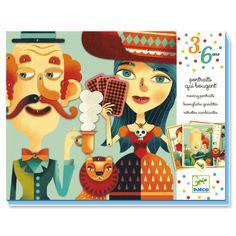 Moving portraits by #Djeco bewegende portretten: bewegende portretten is een knutselset met 4 geperforeerde stevige kartonnen kaarten om met de bijhorende onderdelen de ogen, mond, oren ( & extra leuke onderdelen ) te bevestigen van deze knotsgekke familie! from www.kidsdinge.com                             http://instagram.com/kidsdinge          https://www.facebook.com/kidsdinge/ #kidsdinge #onlinestore #Kidsroom #babyroom #Toys #Speelgoed #worldwideshipping