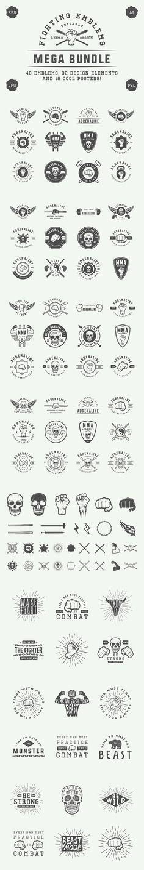 Set of vintage fighting emblems. Logo Templates. $19.00