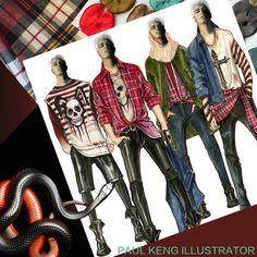 Illustration by Paul Keng Illustration Styles, Fashion Illustrations, Guy Drawing, Fashion Art, Fashion Design, Sketch, Punk, Costumes, Drawings