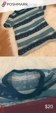 Blue striped top Small teepees and very soft. Slight cropped Urban Outfitters Tops