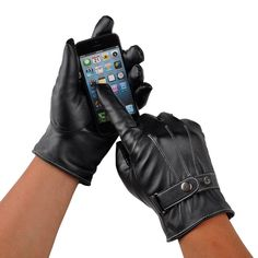 Men Black Winter Leather Motorcycle Full Finger Touch Screen Warm Gloves Fashion #UnbrandedGeneric #MotorcycleMen