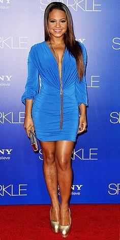 Christina Milian in kort en sexy blauw