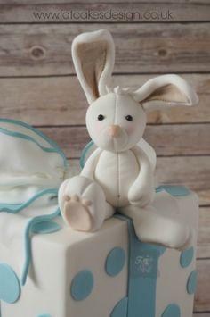 rabbit christening cake topper