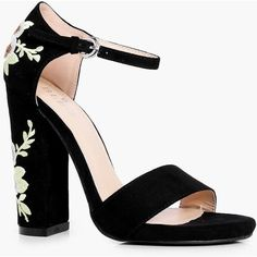 Boohoo Bella Embroidered Block Heel Two Part (115 RON) ❤ liked on Polyvore featuring shoes, sandals, heels, zapatos, embroidered sandals, floral high heel sandals, high heeled footwear, block heel sandals and floral heeled shoes