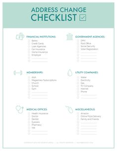 The Only Change of Address Checklist Printable You Need It's shocking how many places keep your address on file! Use this change of address checklist printable to help make sure you update them ALL! Apartment Moving Checklist, Moving House Checklist, Moving List, Moving House Tips, New Home Checklist, Moving Home, Moving Day, Moving Hacks, Apartment Essentials