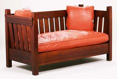 Gustav Stickley crib settle #173.  Signed with large red decal.  Original finish.