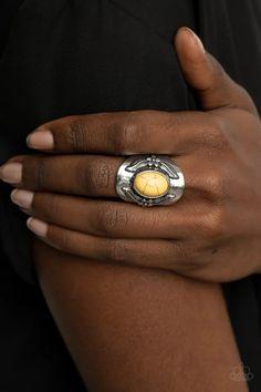 Paparazzi Accessories - Santa Fe Sanctuary - Yellow Ring Paparazzi Accessories, Paparazzi Jewelry, Yellow Rings, Boutique Design, Fes, Santa Fe, Silver Plate, Bling, Lead Free