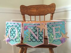 Mermaid highchair banner, first birthday banner