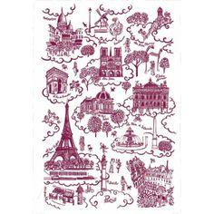 Toile De Jouy | torchon Paris toile de Jouy rose