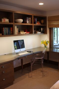 office desk idea. Office Shelving/computer Desk Idea. Not A For The Entire Wall, But Idea