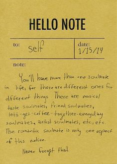 Hello Note: soulmates