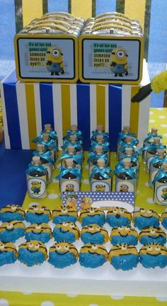 Minion treats at a Despicable Me birthday party!  See more party planning ideas at CatchMyParty.com!