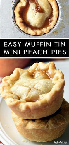 These Mini Peach Pies are super easy requiring only a few simple ingredients! #pie #peach #peaches #peachpie #minipies