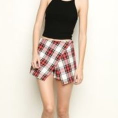 Brandy Melville Red Plaid Casey Skort Bnwot Brandy Melville Shorts Skorts