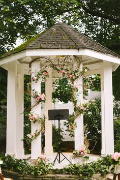 This modern fairytale takes place with the bride and groom under this rose vine gazebo. Fairytale Weddings, Real Weddings, Gazebo Wedding Decorations, Altar, Wedding Reception Signs, Garden Gazebo, Wedding Inspiration, Wedding Ideas, Wedding Story