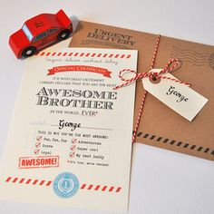 Personalised 'Awesome Brother' Certificate