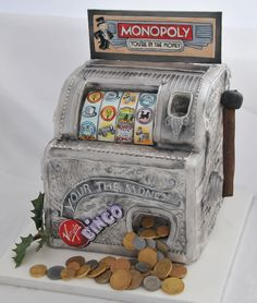 www.facebook.com/cakecoachonline - sharing...Monopoly You're in the Money slot cake.