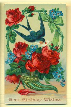 Antique Germany Valentine Birthday Greeting Card by EvelynnsAlcove, $10.00