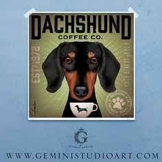 Dachshund Coffee Company Long Dog Roast artwork original graphic archival print by stephen fowler geministudio