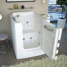 Access Tubs Walk-in Air Hydro Jetted Massage Tub! At this time of my life I would love to have this tub! Walk In Tubs, Walk In Bathtub, Bathtub Drain, Tiny House Bathtub, Steam Showers Bathroom, Shower Tub, Corner Tub, Small Showers, Jetted Tub