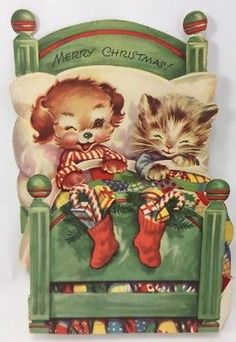 VINTAGE CHRISTMAS CARD Puppy Kitten In Bed 3D 1960's