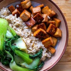 Maple Glazed Tofu with Garlic Bok Choy Sauté & Brown Rice #healthy #dinner #recipes http://greatist.com/eat/healthy-dinner-recipes-for-two