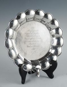 Antique 19th Century Spanish 800 Silver Marriage Plate Engraved Inscription Signed TW. This is a handsome Spanish silver marriage plate dating to the 19th century.