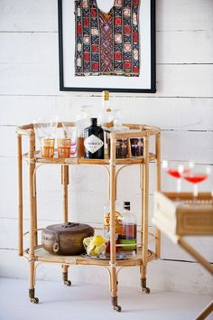 blonde bar trolley #bar cart #rattan