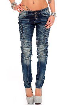 Cipo & Baxx Damen Jeans Hose Hüftjeans Slim Fit Stretch